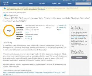Cisco signale deux failles importantes sur IOS XR