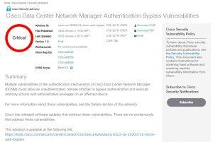 Avis de sécurité critiques pour Data Center Network Manager de Cisco
