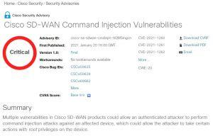 Cisco publie des patchs critiques pour son SD-WAN